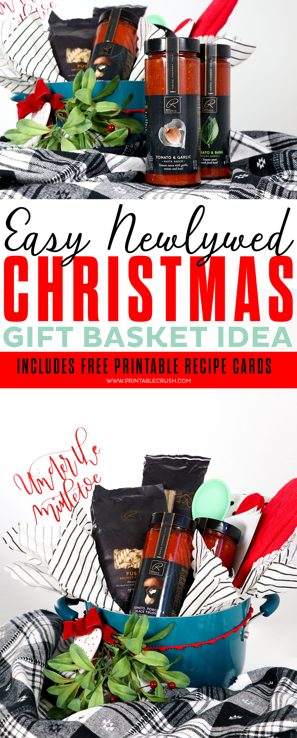 Get the newlyweds something they actually NEED this Christmas with this pretty Newlywed Christmas Gift Basket Idea. Includes FREE printable recipe cards! #weddinggift #christmasgiftidea #freeprintables #signaturereserve #albertsons #safeway #recipecardprintable #giftbasket #christmasgiftbasket via @printablecrush