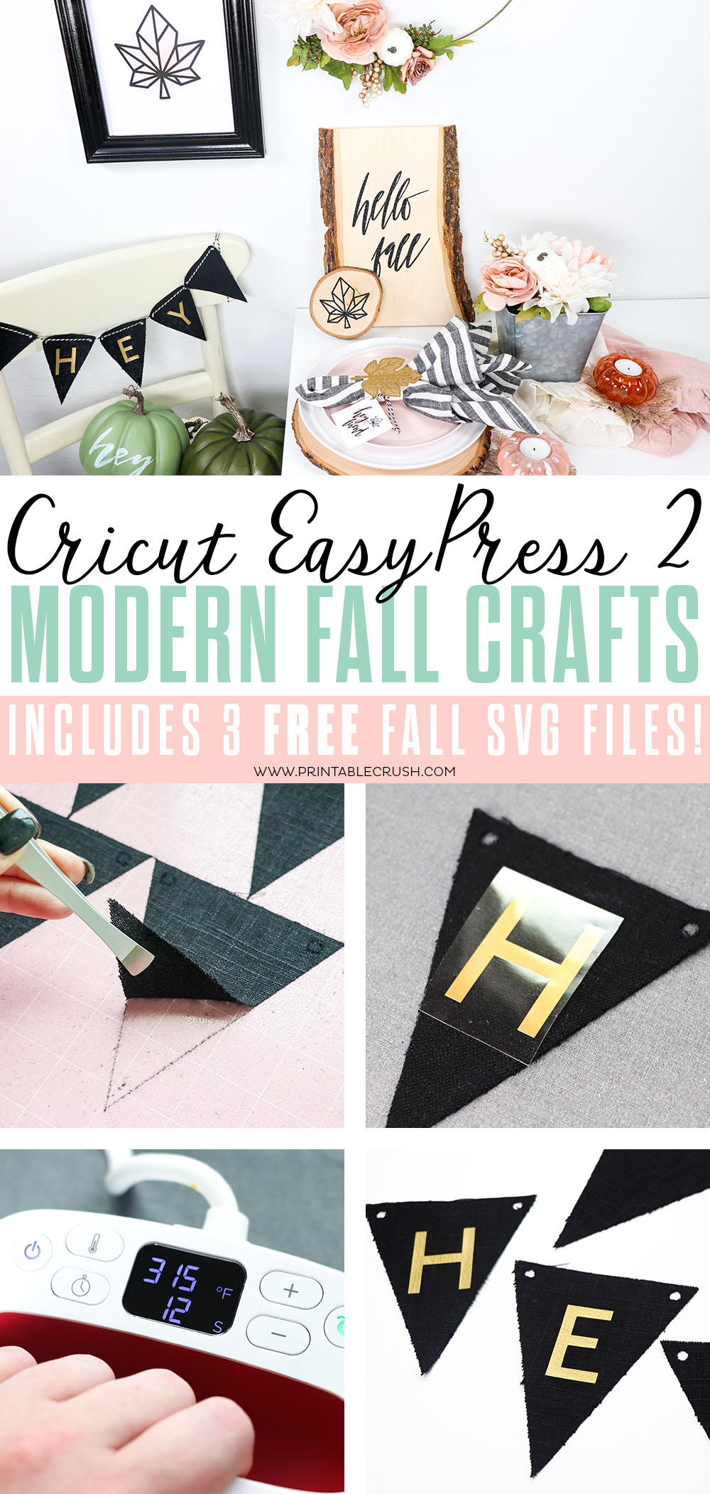 These Cricut EasyPress 2 Modern Fall Crafts and FREE SVG Files are perfect for Thanksgiving or Fall home decor and parties!