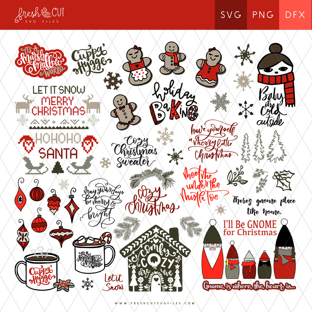 Get the Cozy Christmas SVG File Bundle for all your DIY Christmas crafts!