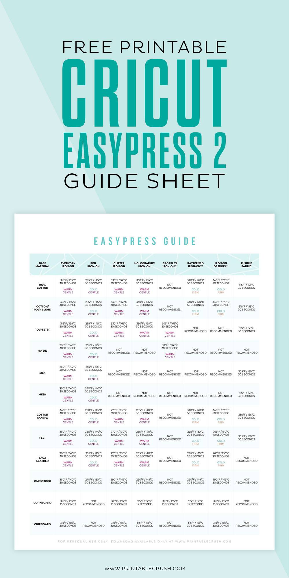 FREE EasyPress 2 Guide Sheet PDF - download instantly