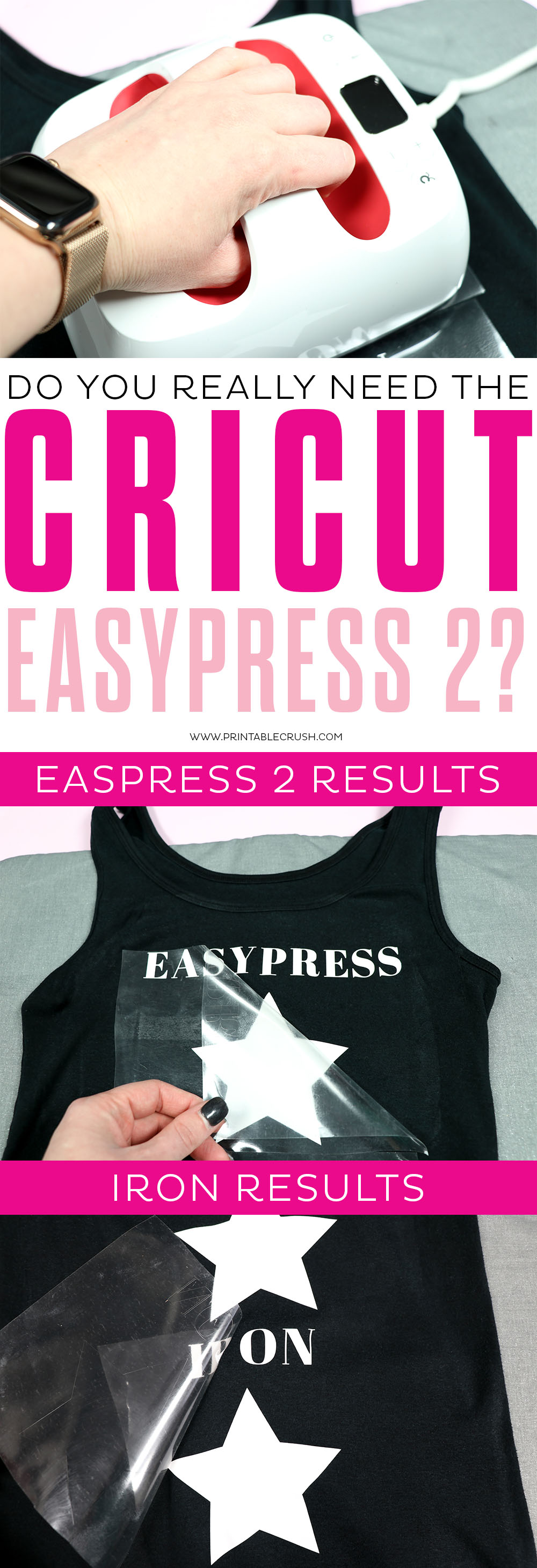 Want to know the difference between the EasyPress 2 and an iron when applying iron-on? Well, one is clearly meant to be an iron while the EasyPress 2 makes amazing iron-on tees!   #cricutmade #cricuteasypress2 #easypress #irononvinyl #cricutironon #sayitwithcricut via @printablecrush