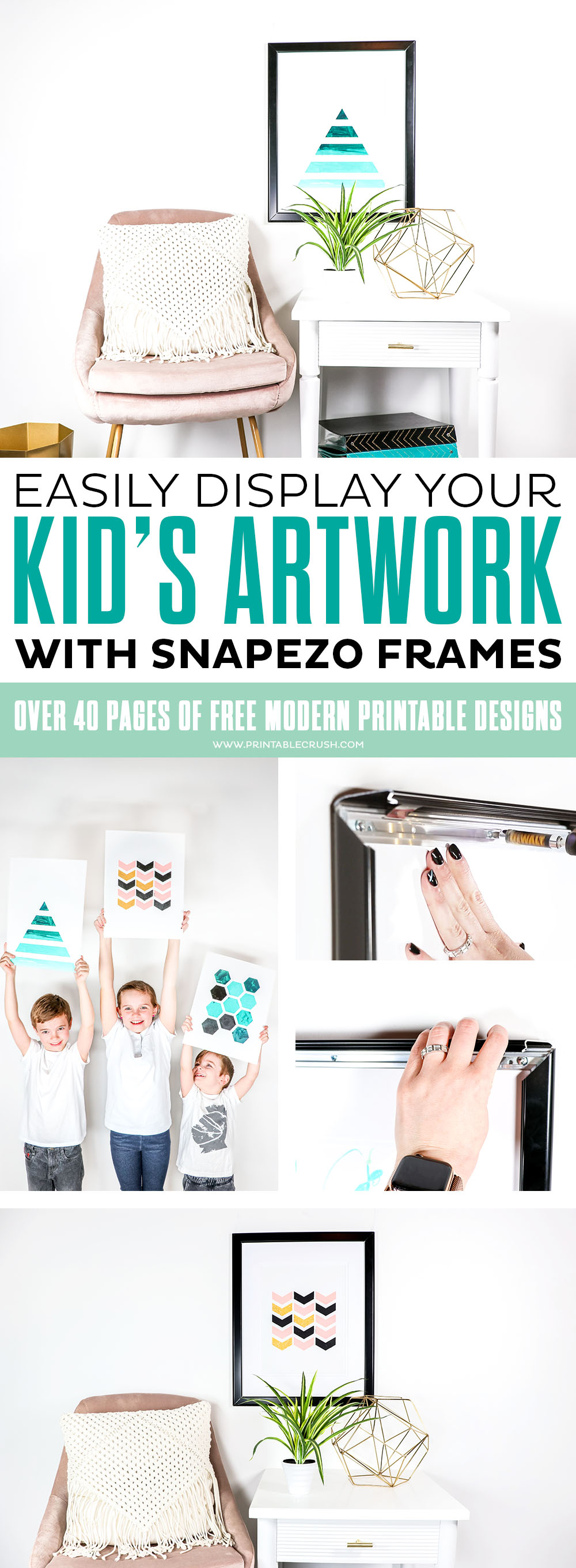Easily switch out kid artwork with Snapezo frames - these would also be great to display and switch out schedules, printable artwork and family pictures! #snapezoframes #snapezo #kidartwork #diykidartwork #easykidactivity #moderndecor #modernhomedecor via @printablecrush