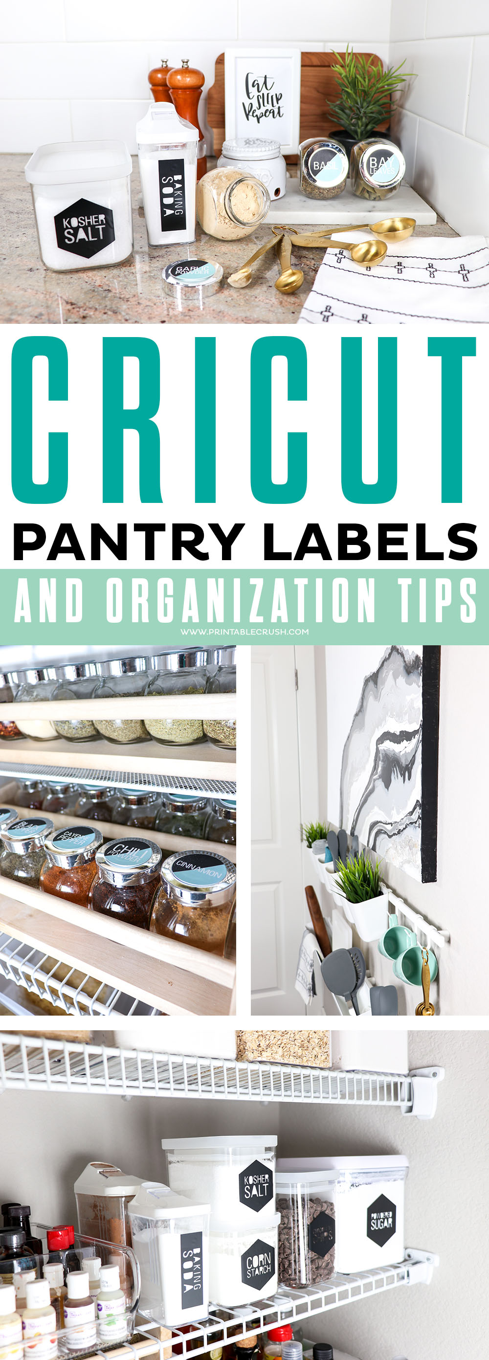 Get these FREE Modern Cricut Pantry Labels and some pantry organization tips to keep your kitchen tidy! #cricutmade #cricutmaker #vinylpantrylabels #pantrylabels #kitchendecor #moderndecor #cricutcrafts #homedecor #organization #pantry via @printablecrush