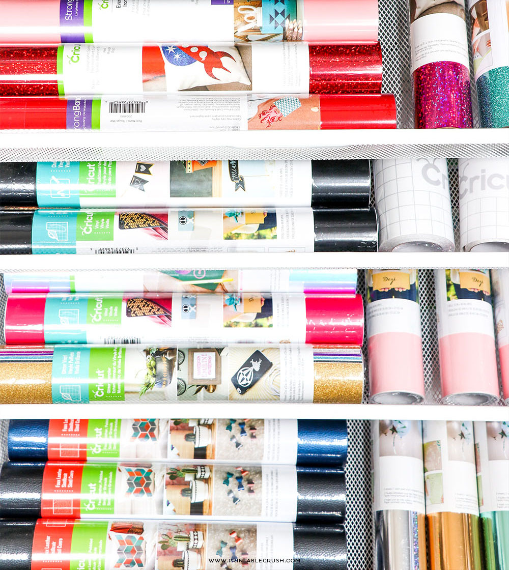 Store ALLLLL the Cricut Vinyl with a roll cart from the Container Store - this is the perfect storage solution for my craft room!