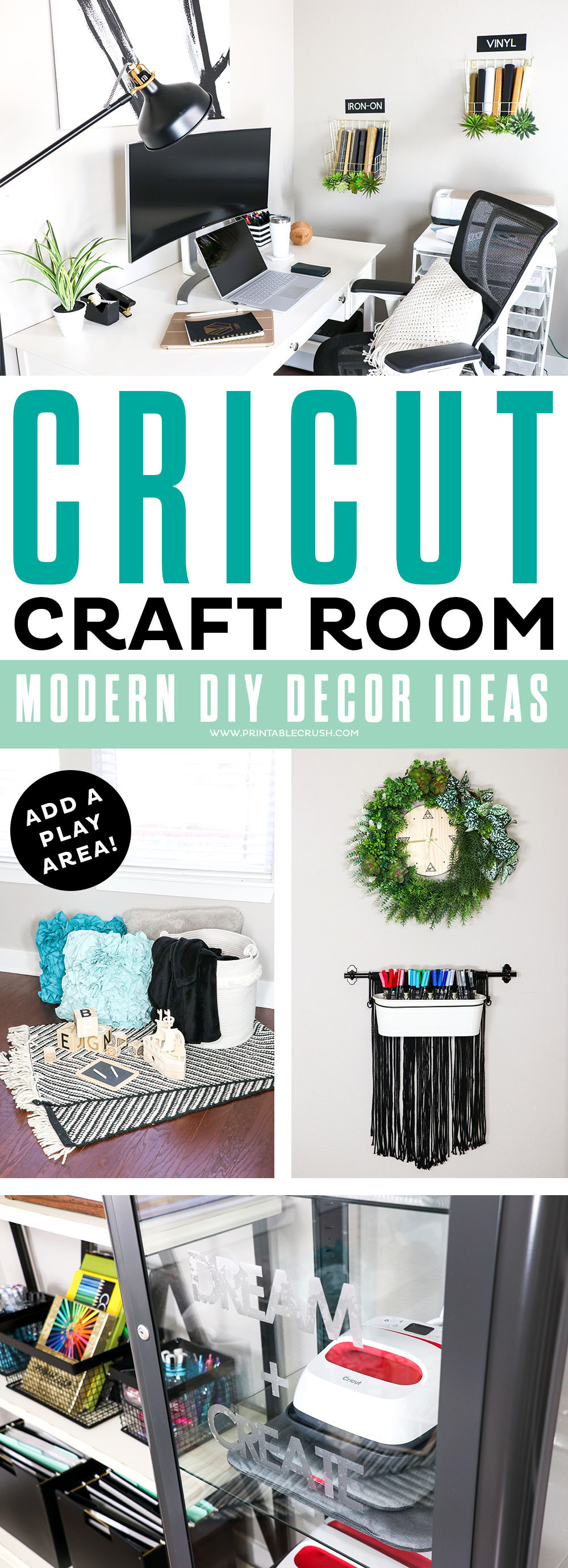 Your craft room can be modern, beautiful AND functional with these DIY Cricut Decor Ideas!