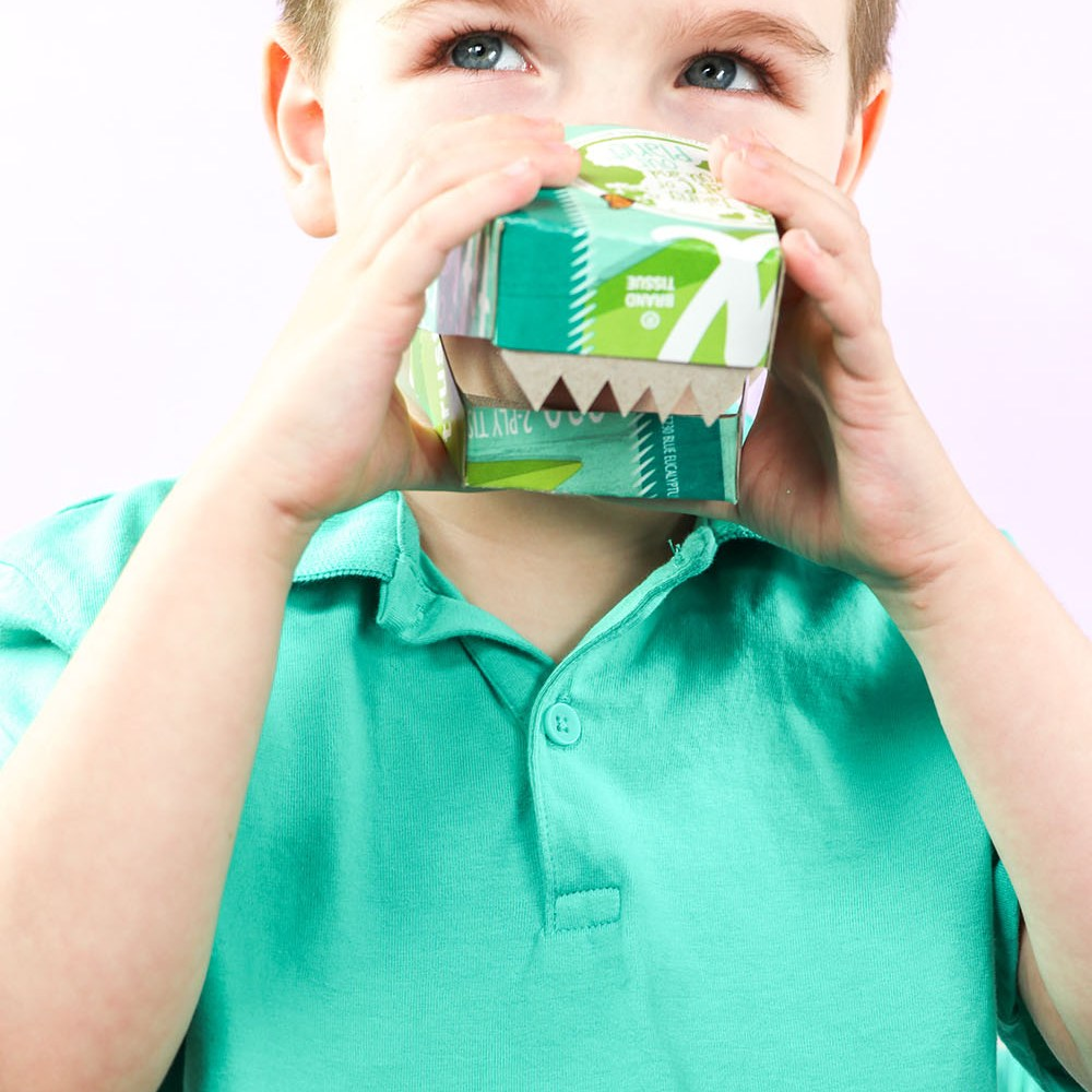 These Dinosaur Masks are made from empty Kleenex Tissue Boxes and are the perfect Earth Day Craft for kids!