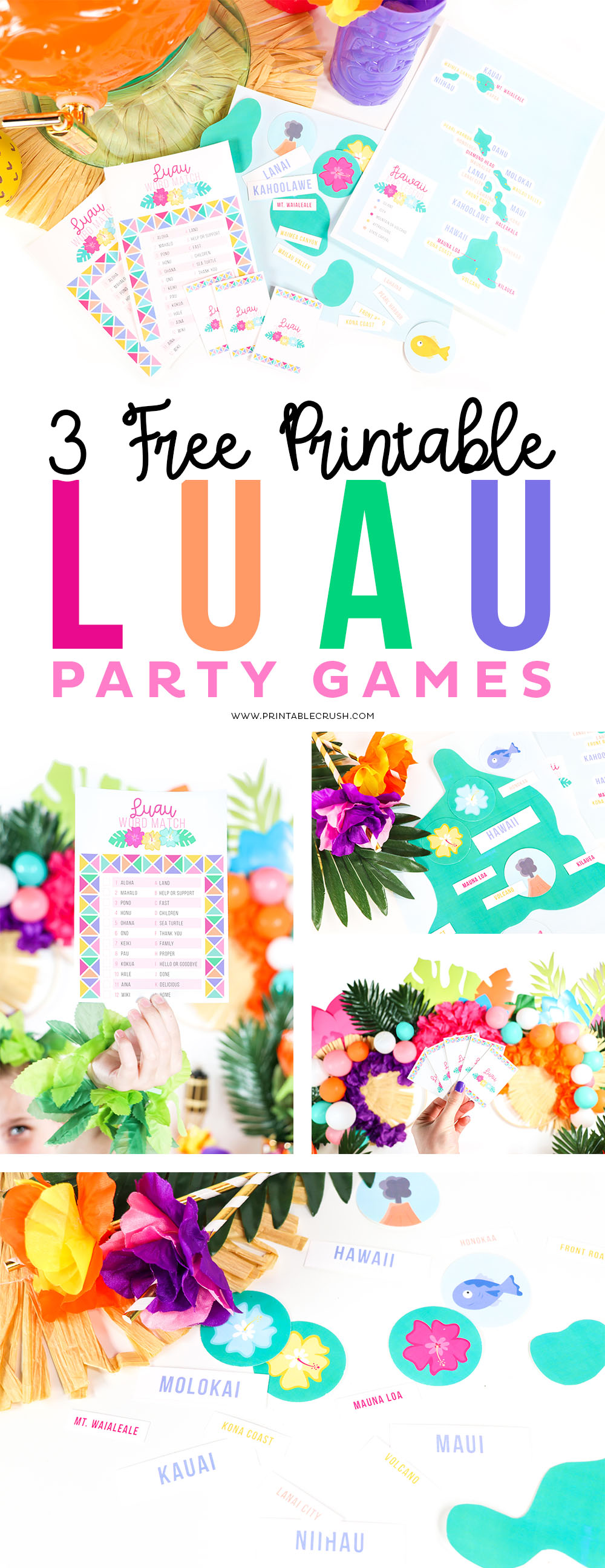 These FREE Printable Luau Party Games are perfect for the summer luau party. Such a fun way to keep the kids entertained! #freeprintable #printablepartygames #partygames #freepartygames #printablecrush #luaupartygames #luaugames #hawaiimap #gamesforkids #partygamesforkids