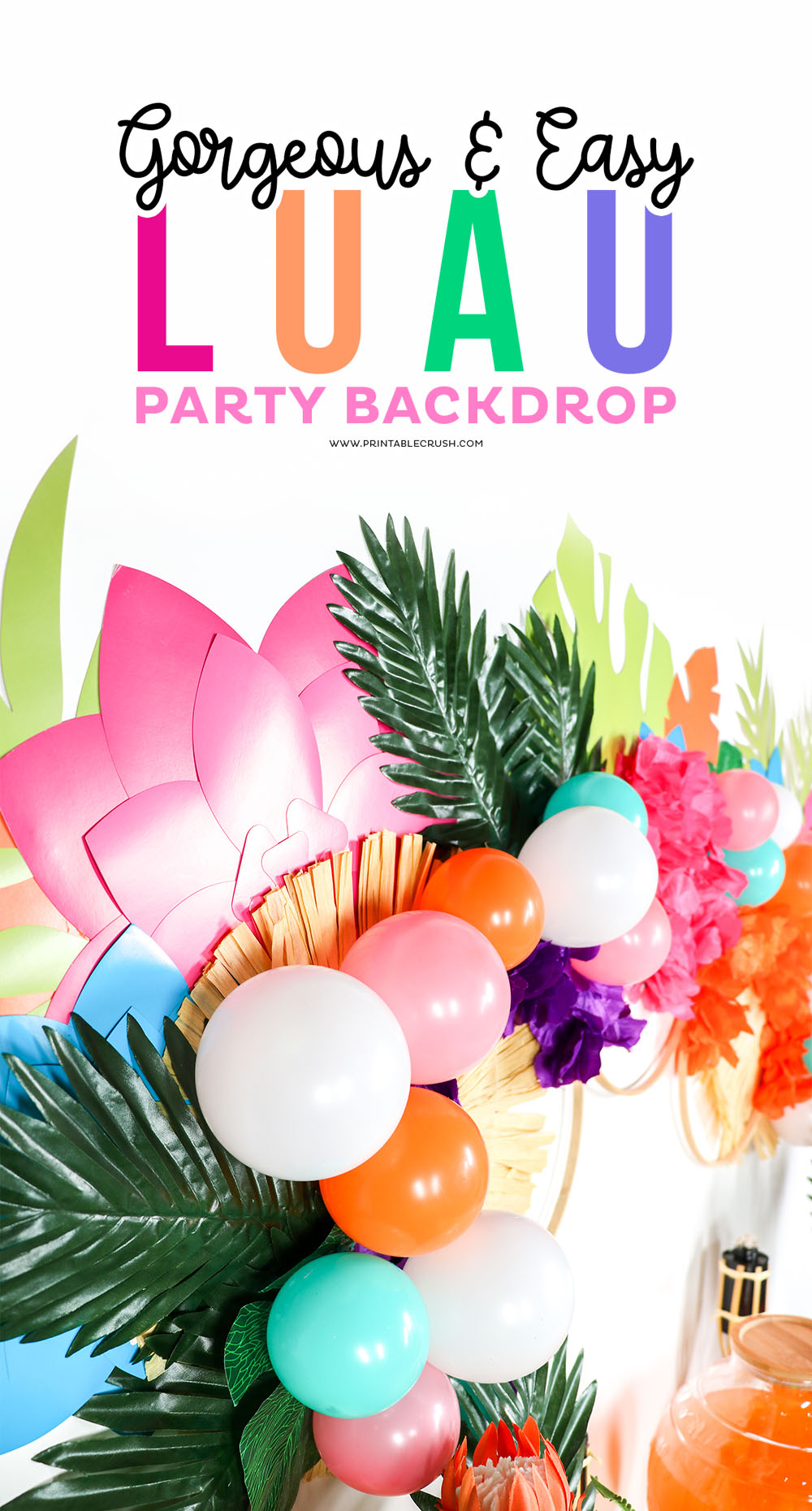 Easily make this damage-free Luau Party Backdrop for a great summer party!