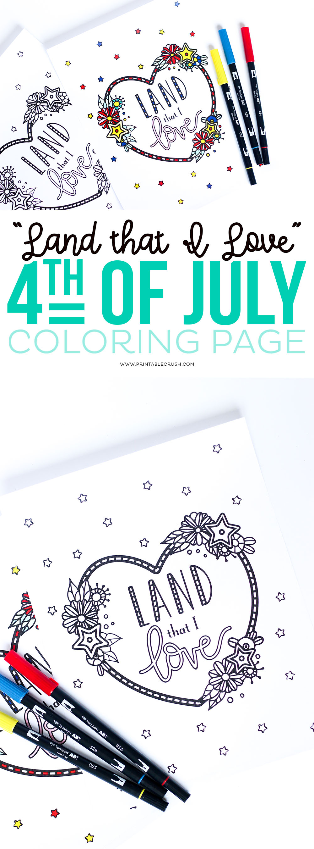 "Get this ""Land That I Love"" Fourth of July Coloring Page FREE on Printable Crush."