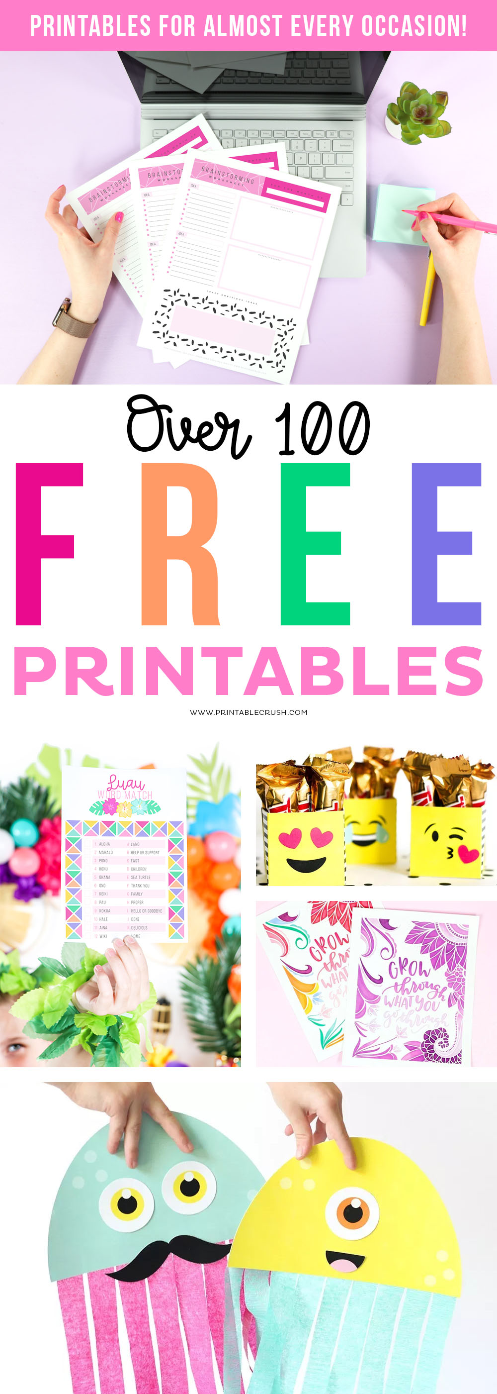 Looking for FREE Printables, but having a problem navigating through Pinterest? You'll love this list of over 100 printables for almost EVERY Occasion! #freeprintables #freeholidayprintables #printables #printablecrush #printabledesigns #holidayprintables #freeprintable #printableactivities #partyprintables