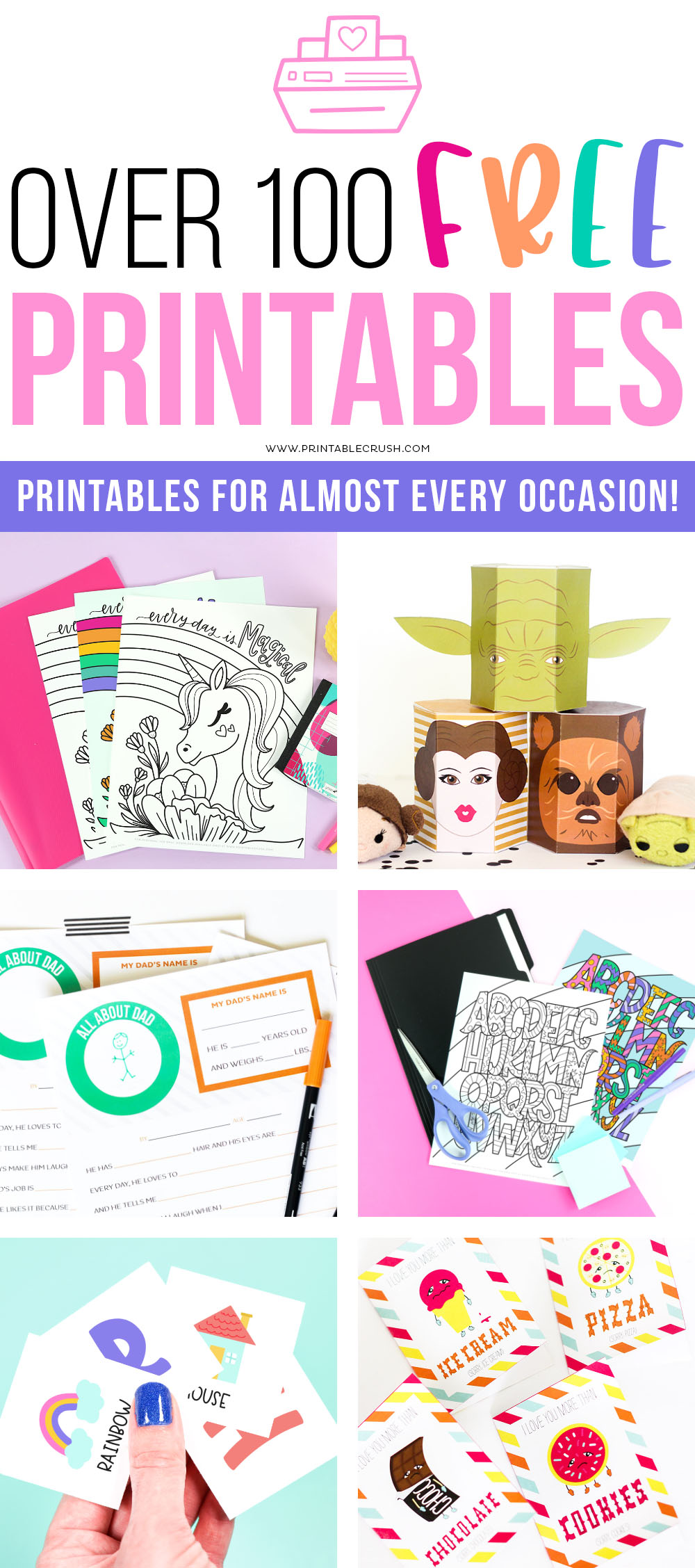 The BEST resource for Free Printables - Over 100 free printables to choose from - Printable Crush