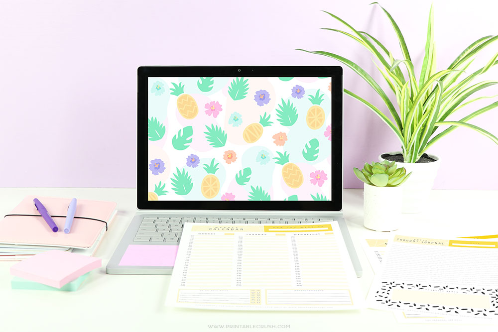 This bright and colorful desktop wall paper has the cutest pineapple themed pattern!