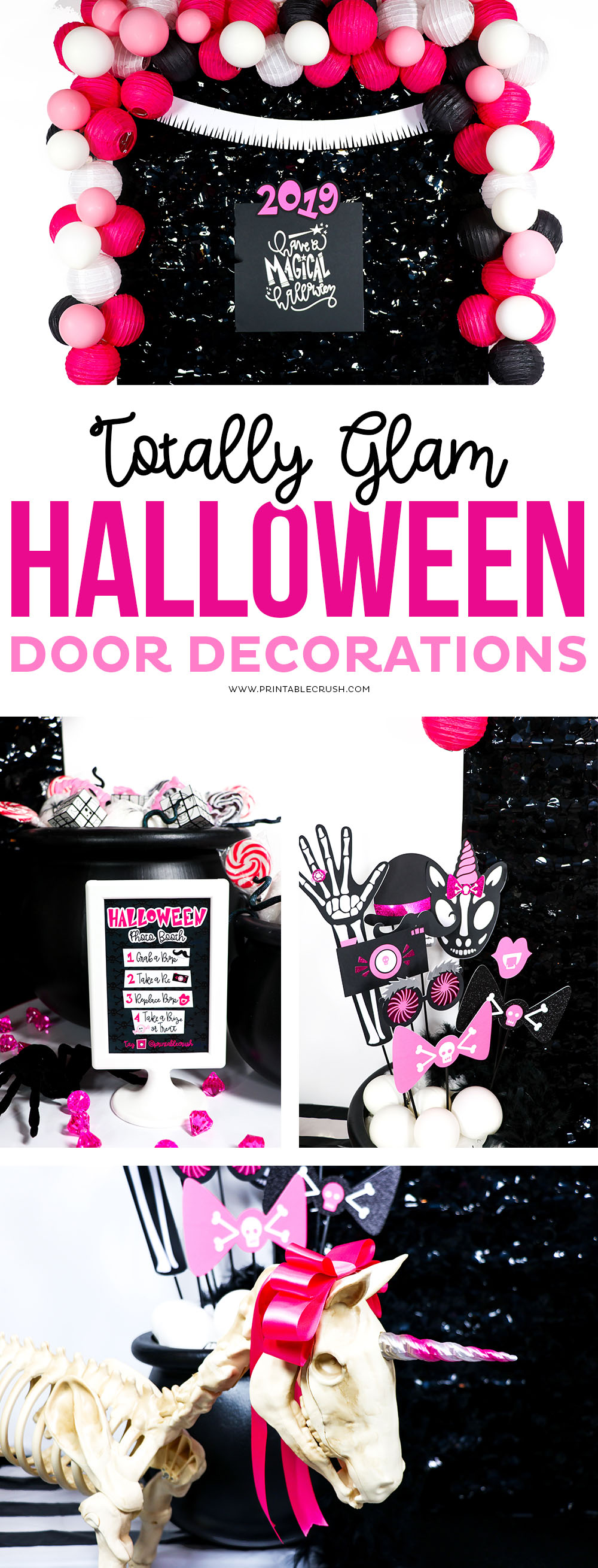 From the Unicorn Skeleton to the fab photo props, you'll be the most stylish house on the street this year with these Glam Halloween Door Decorations!  #halloween #glamhalloween #halloweendoordecor #halloweendoordecorations #halloweenphotobooth #halloweenphotoprops #trickortreatideas #noncandyhalloweentreats via @printablecrush