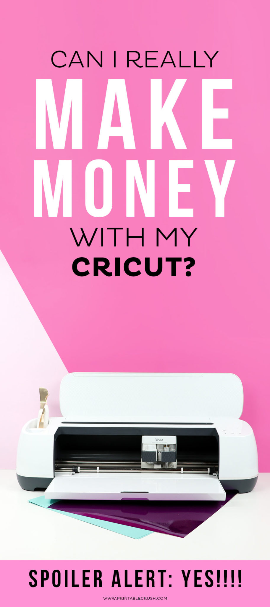 Can I Make Money with my Cricut? I'm telling you 5 ways to start right now! #cricutcreated #howtomakemoney #bloggingtips #businesstips #cricuttutorials #cricutproject #cricutbusiness #business #craftbusiness #paperbusiness via @printablecrush