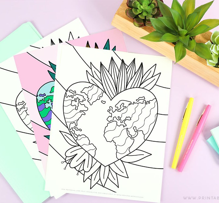 Free Printable Earth Coloring Page
