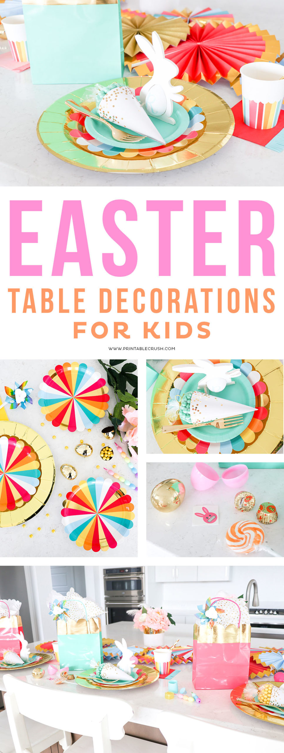 Easy Easter Table Decorations for Kids #easter #easterdecorations #easterforkids #easterparty #easterpartydecorations #orientaltrading via @printablecrush
