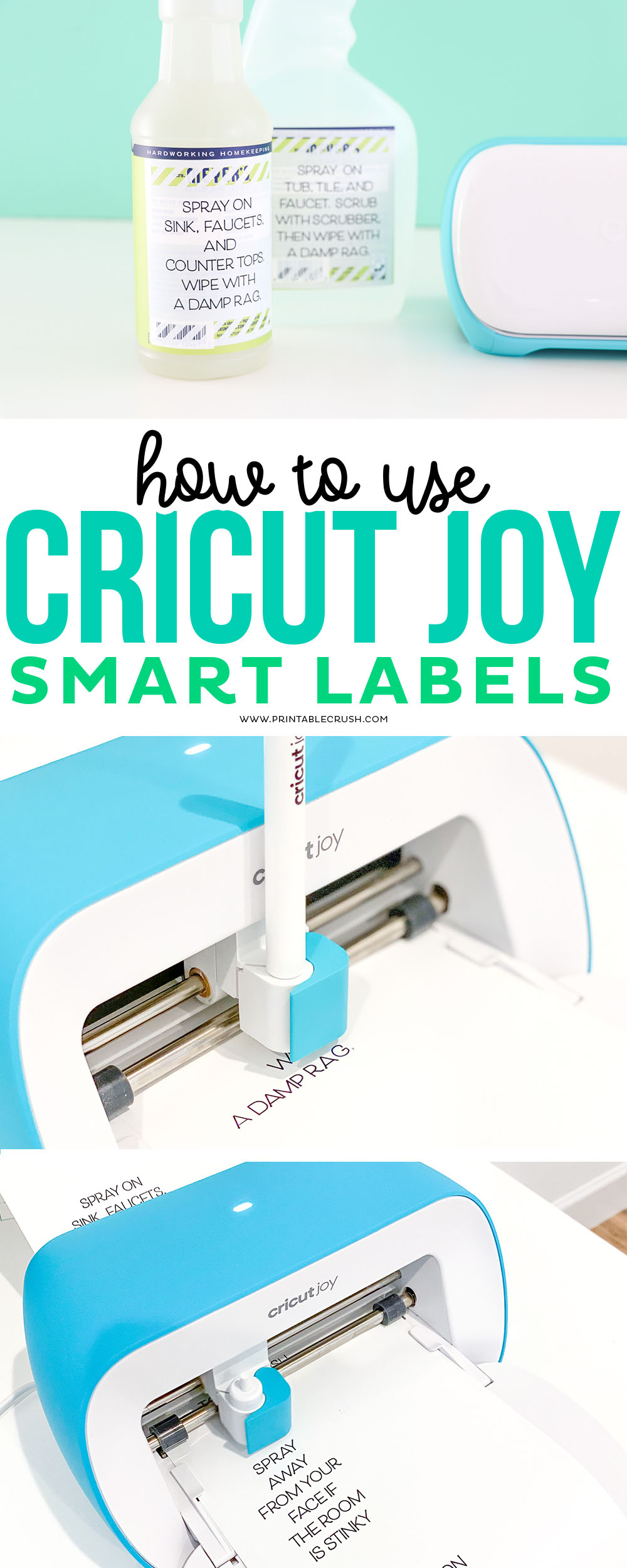Use Cricut Smart Labels to create bathroom instruction labels on cleaning products