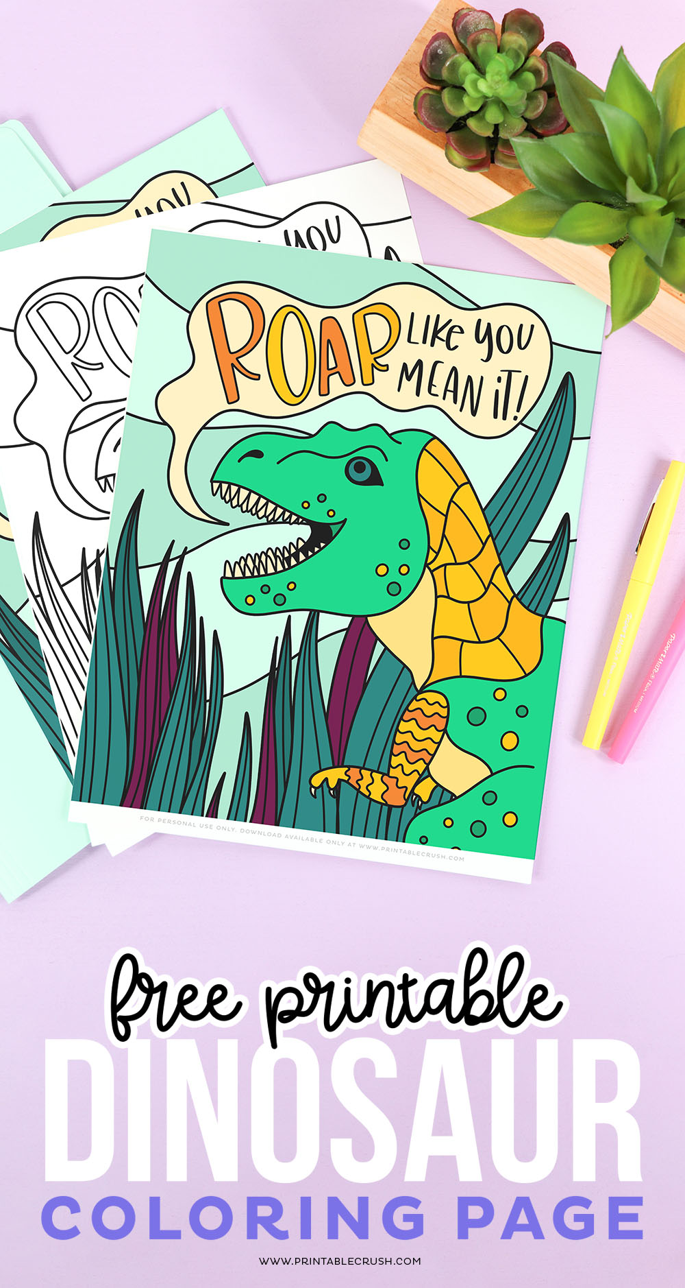 dinosaur coloring page download for free