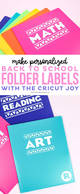 Back to School Folder Labels Tutorial - Printable Crush #backtoschool #cricutjoy #cricutmade #cricut project via @printablecrush