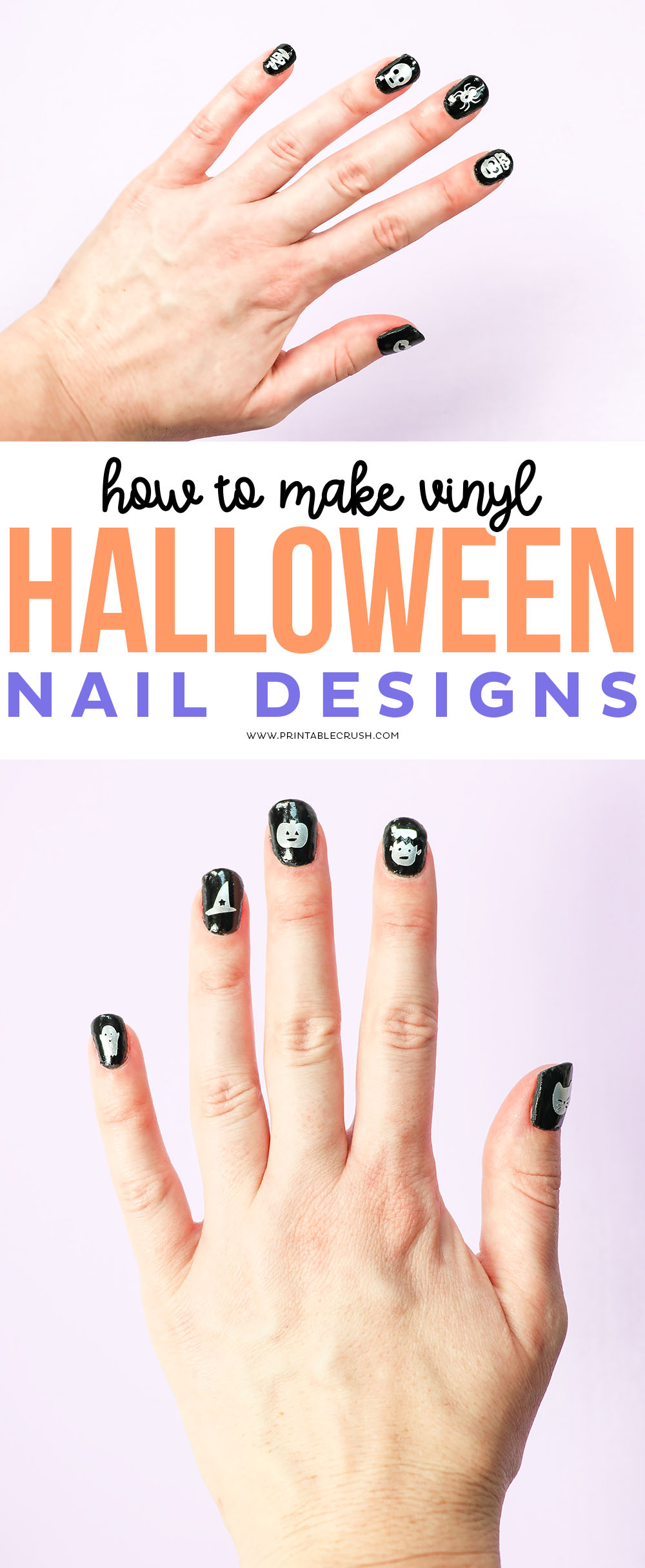 How to Make Vinyl Halloween Nail Designs - Printable Crush #halloween #cricut #cricutcraft #halloweencraft #halloweennails #nailart via @printablecrush