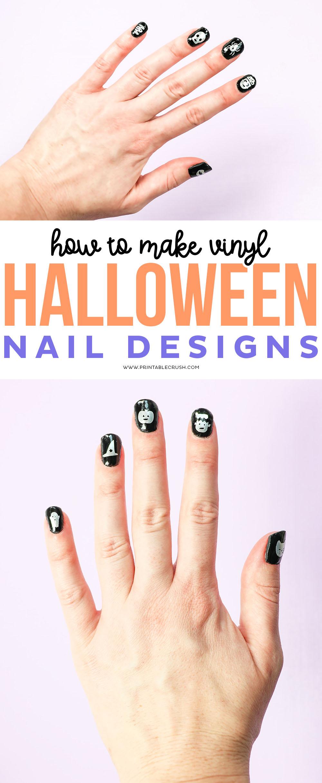 How to Make Vinyl Halloween Nail Designs - Printable Crush #halloween #cricut #cricutcraft #halloweencraft #halloweennails #nailart via @printablecrush