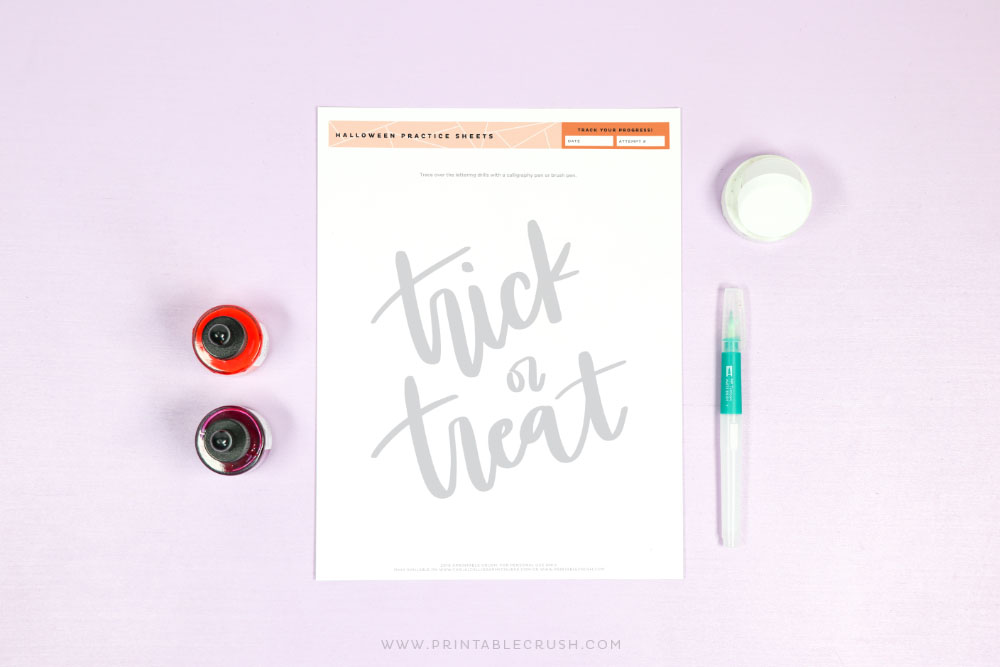 Trick or Treat Brush Lettering Practice Sheet - Printable Crush