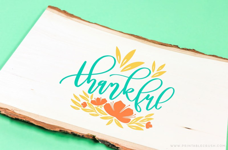 Free Hand Lettered Thankful SVG file