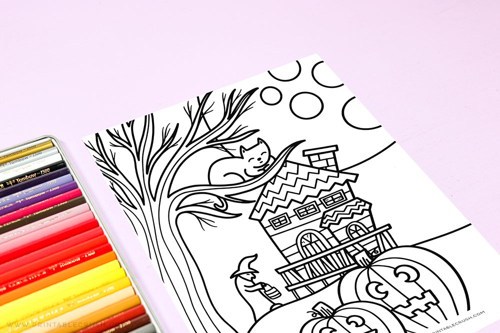 Haunted House Coloring Page - Printable Crush