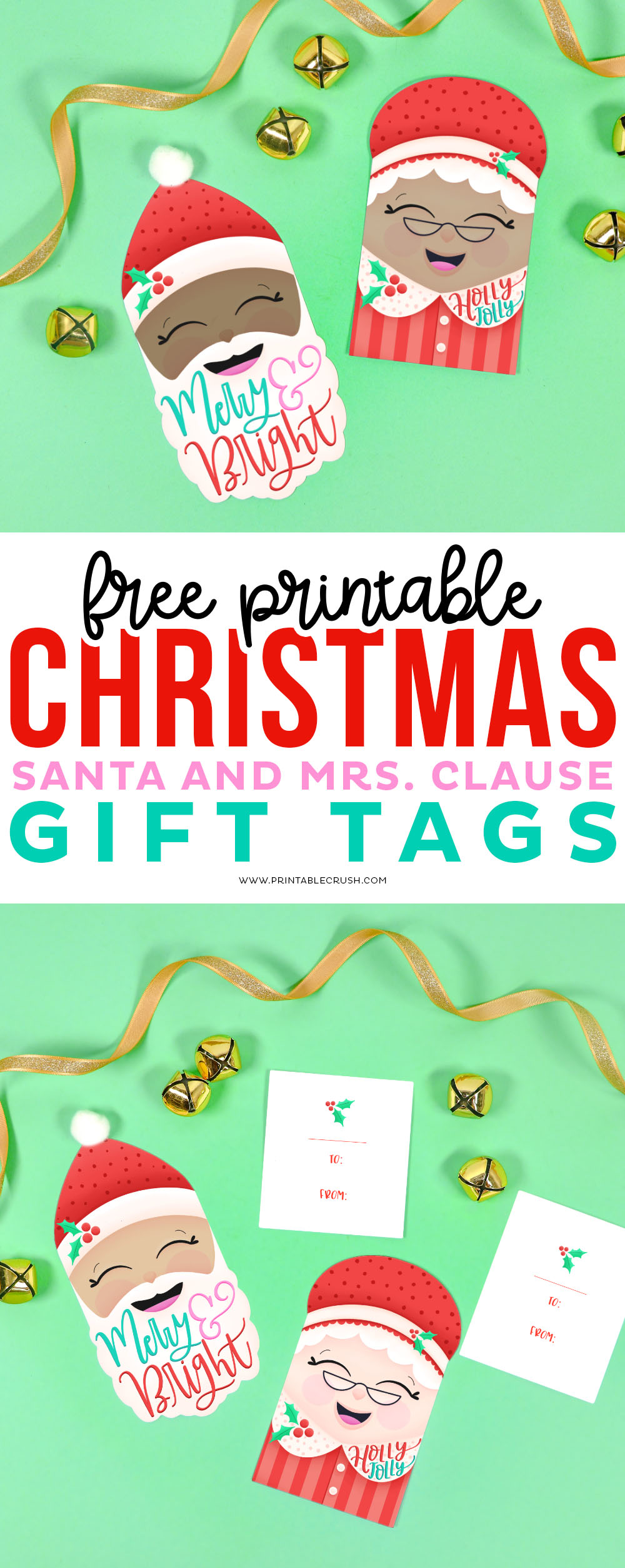 Free Christmas Gift Tags- Santa and Mrs Claus Gift Tags- Printable Crush