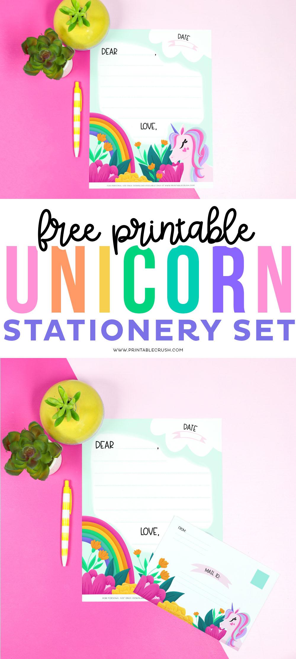 Free Printable Unicorn Stationery Set - Printable Crush