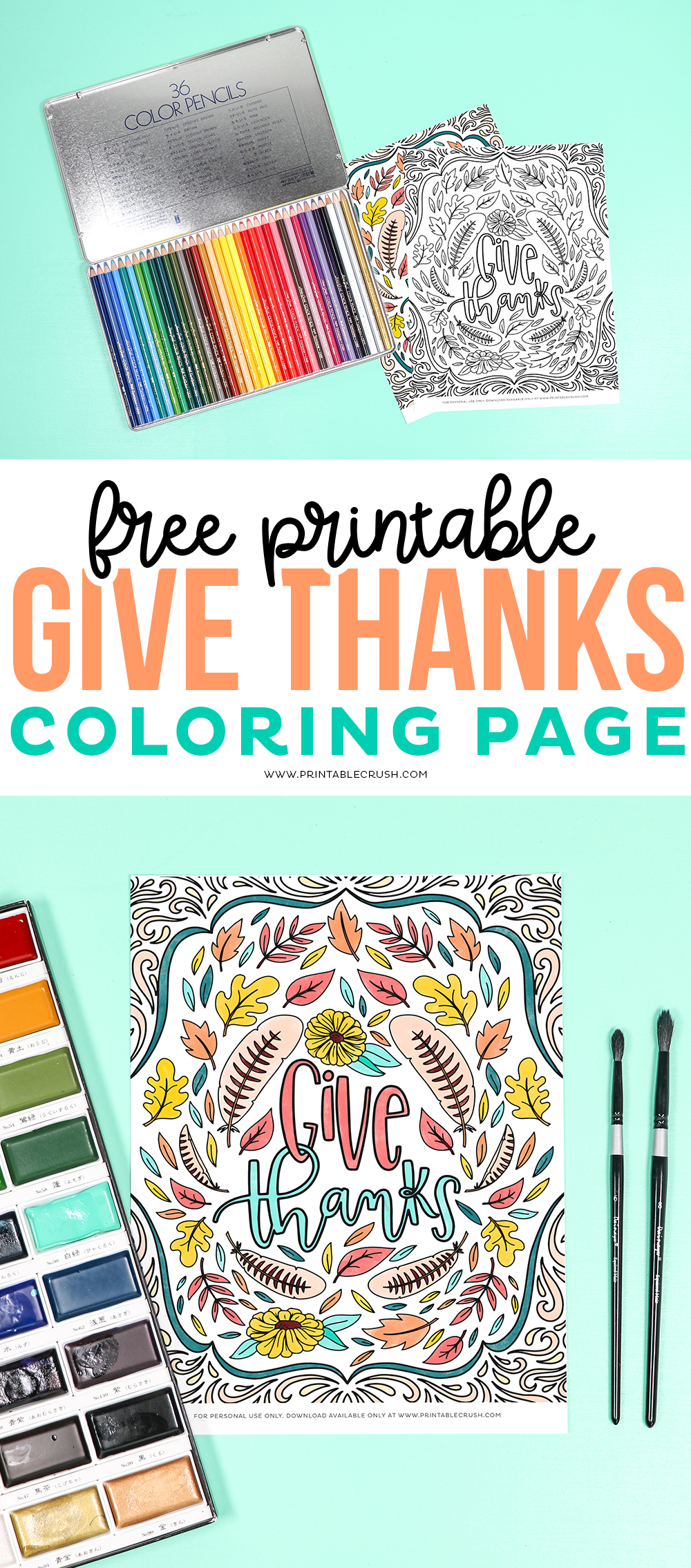 Give Thanks Coloring Page Free Printable - Thanksgiving Coloring Page from Printable Crush #freeprintable #printablecrush #thanksgivingprintable #thanksgiving #givethanks #givethanksprintable via @printablecrush