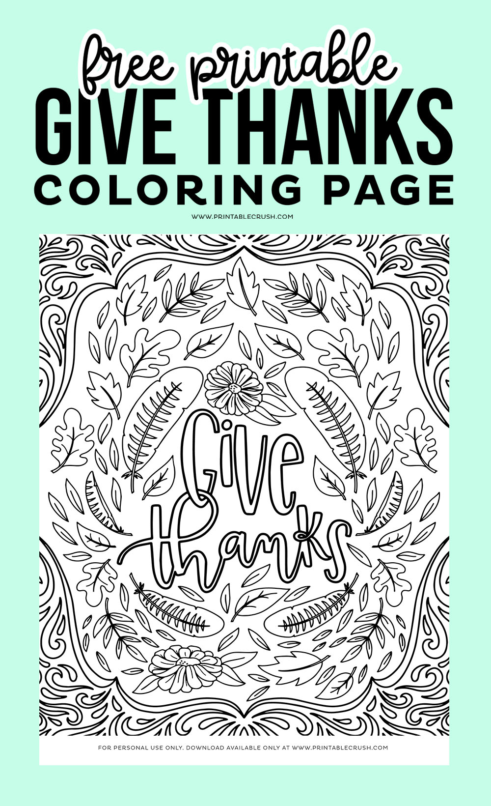 Give Thanks Coloring Page - Printable Crush
