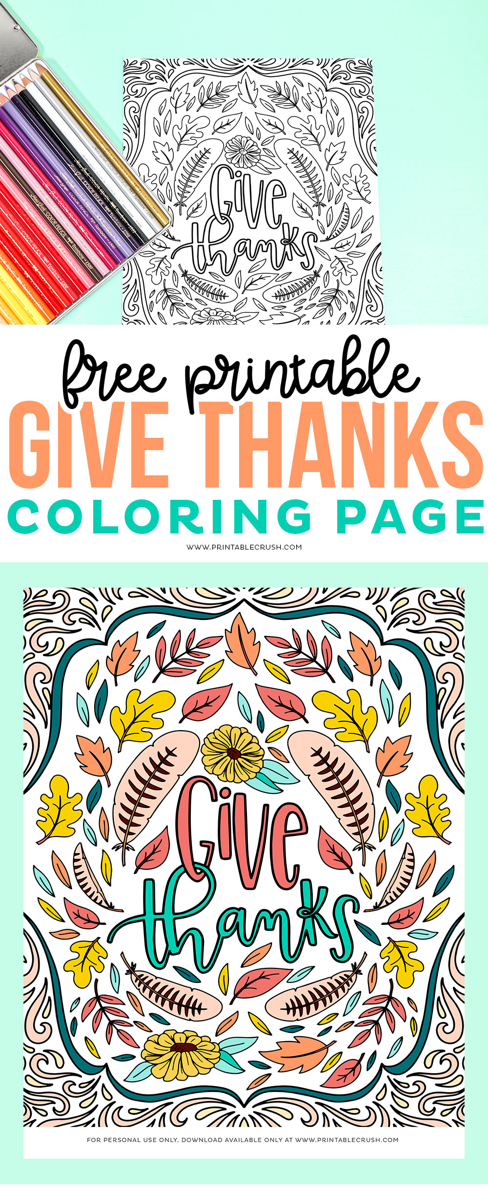 Give Thanks Free Printable Coloring Page - Printable Crush