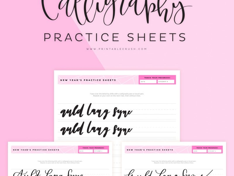 Auld Lang Syne Hand Lettering Worksheets - New Year's Lettering practice - Printable Crush
