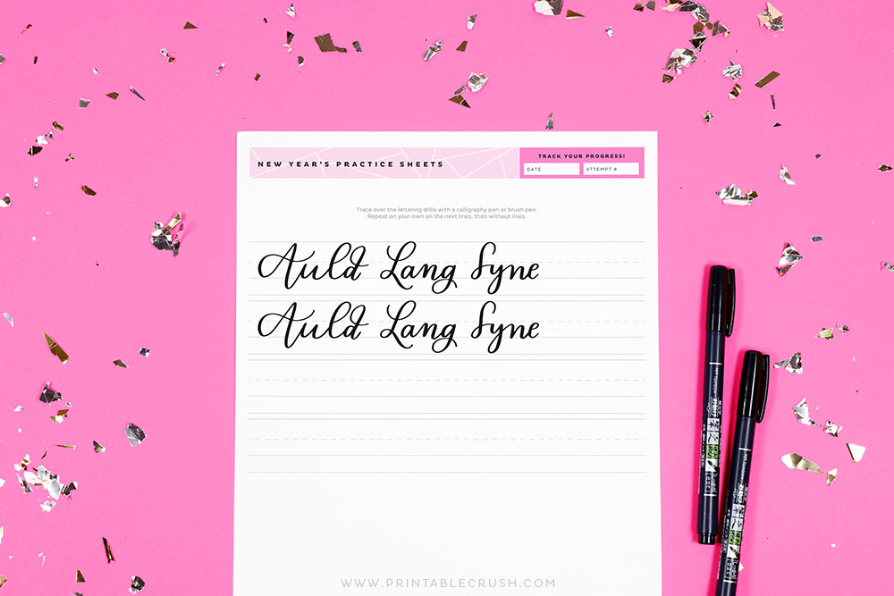 Free New Year's Calligraphy Worksheets - New Year's Hand Lettering