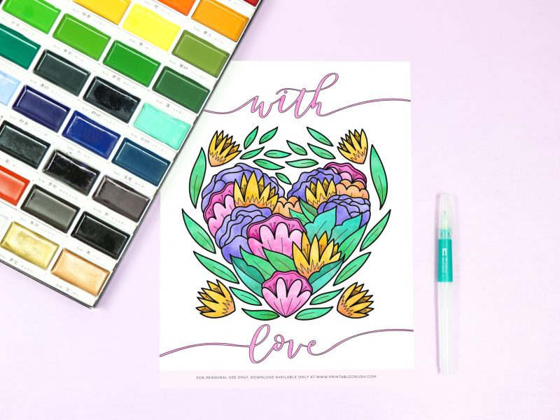 Free Coloring Page - Free Heart Valentine Coloring Page - Valentine's Day Coloring Page