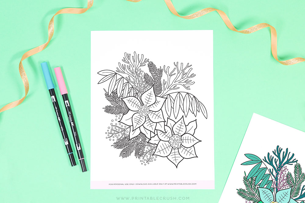 Free Coloring Sheet - Winter Florals Coloring Page - Free Winter Coloring Sheet - Printable Crush