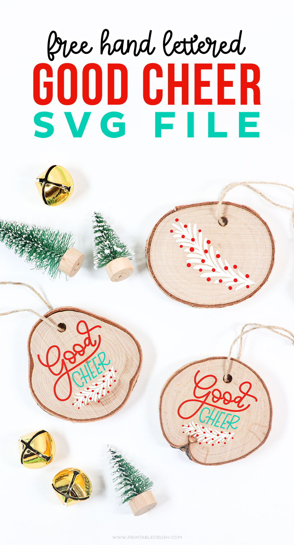 Free Hand Lettered Christmas SVG File - Wood Ornament DIY - DIY Wood Ornament with Cricut Machine - Printable Crush