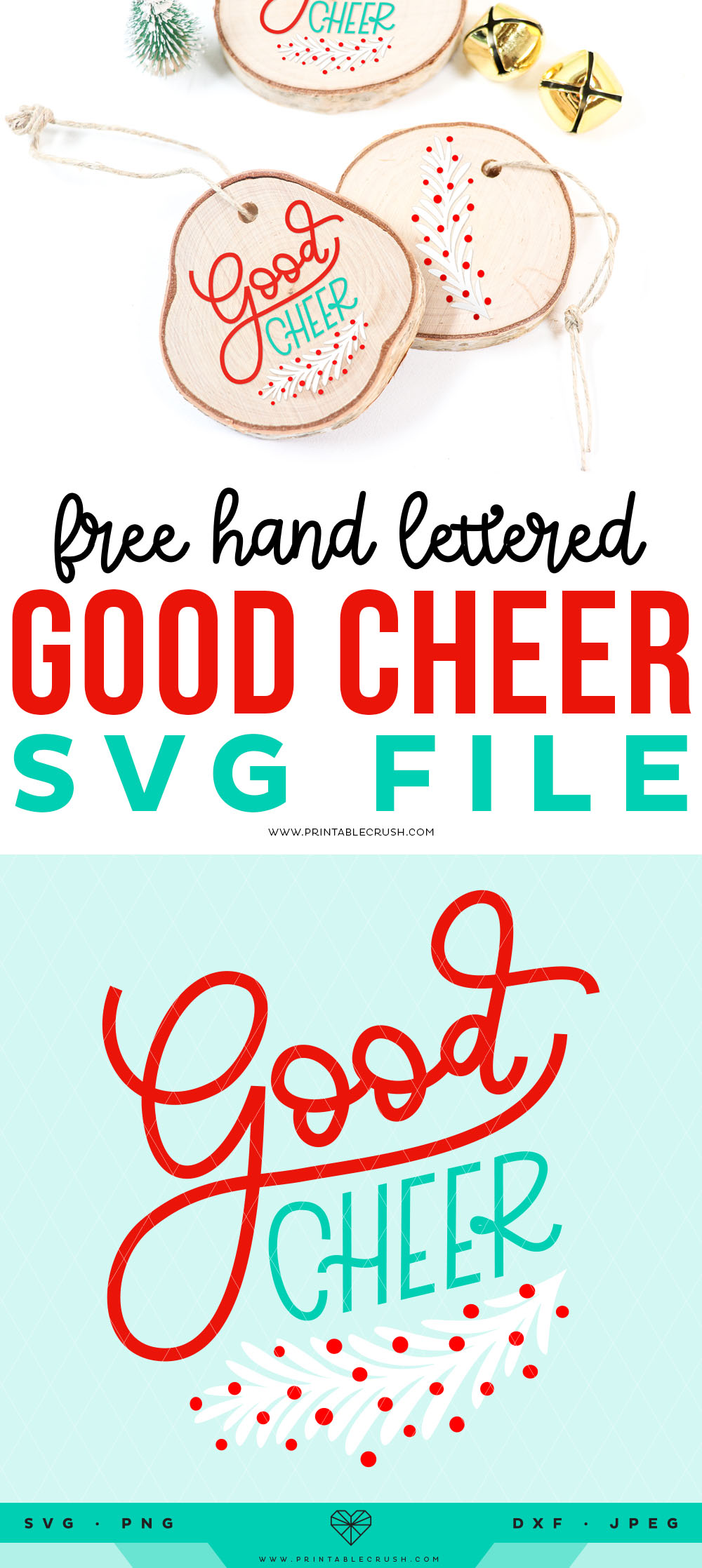 Free Hand Lettered Good Cheer SVG File - Christmas SVG File - Christmas Wood Ornaments - Printable Crush