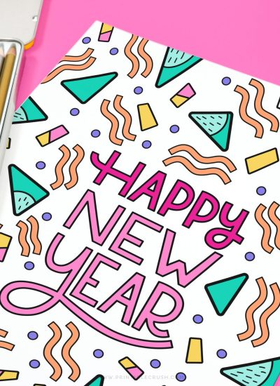 Happy New Year Coloring Page - Free New Year Coloring Pages - Printable Crush