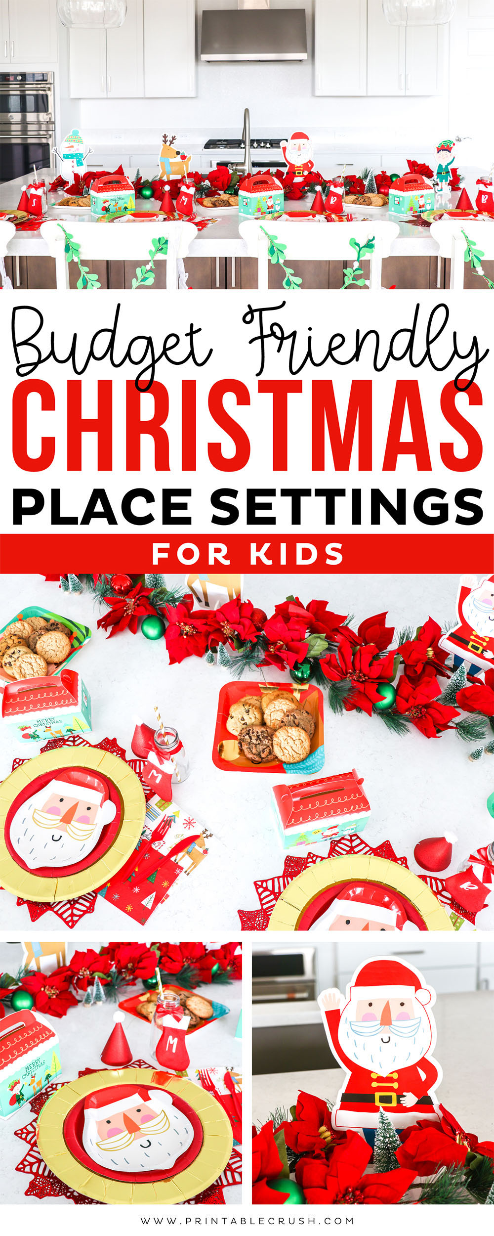 Budget Friendly Christmas Place Settings for Kids - Holiday Place Settings - Santa Christmas Plates - Santa Christmas Party - Printable Crush via @printablecrush