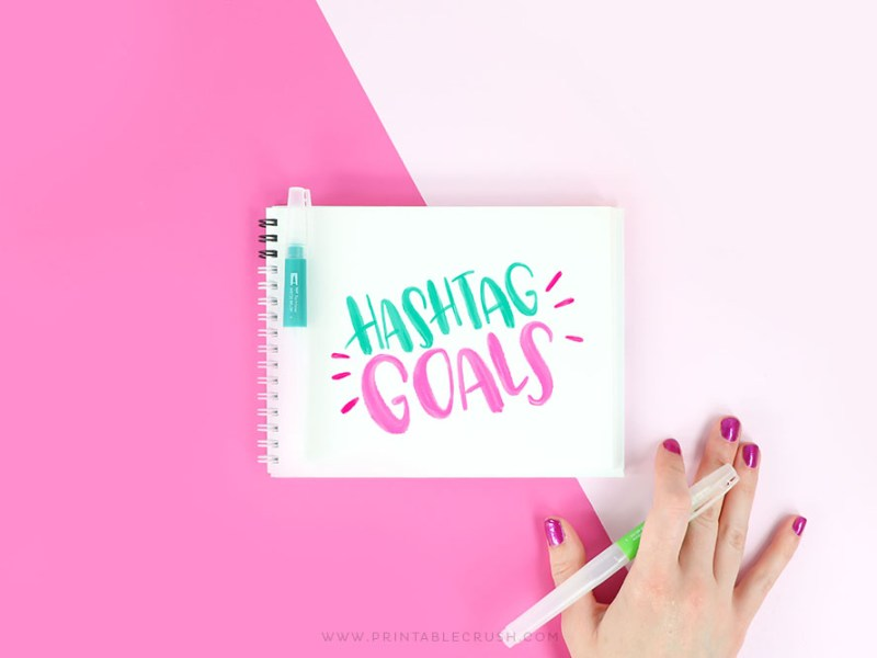 Goals Brush Lettering Practice - Hand Lettering Worksheets - Printable Crush