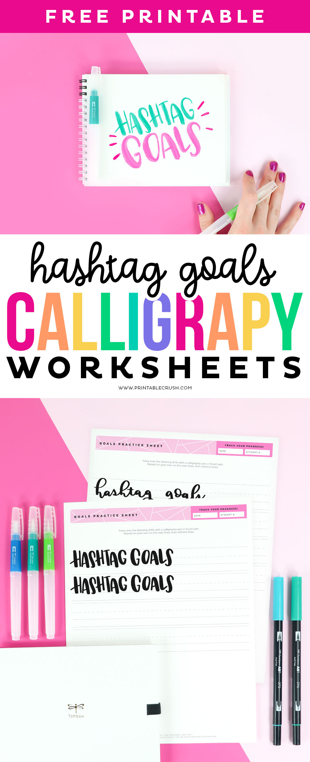 Goals Calligraphy Practice Sheets - Hashtag Goals Hand lettering - Lettering calligraphy sheets - Printable Crush