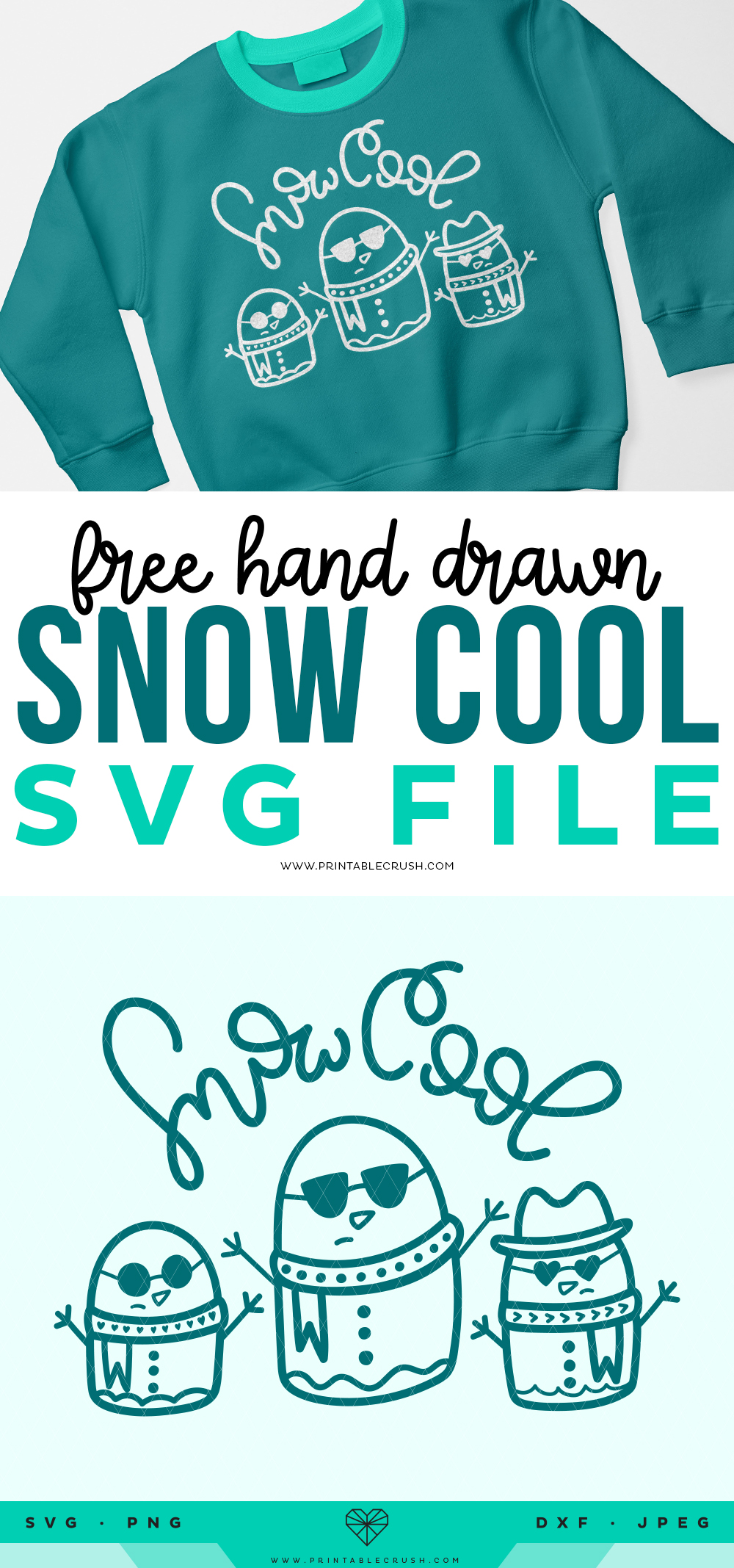 Hand Drawn Snowman SVG File - Free Winter Snowman SVG File - Snow Cool SVG File - Printable Crush
