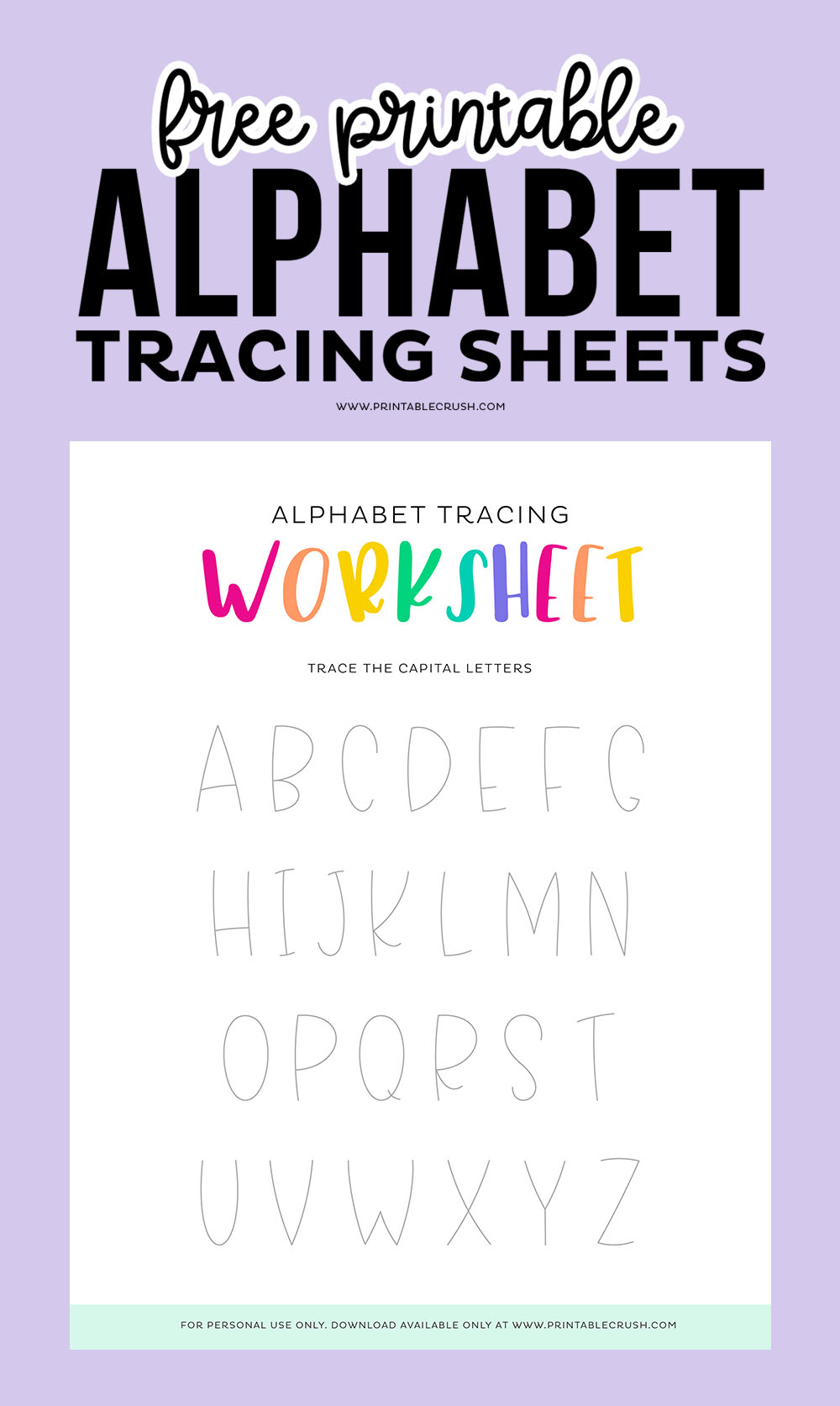 Letter Tracing Worksheets for Early Education - Alphabet Practice for Preschool - Alphabet Practice for Kindergarten - Printable Crush
