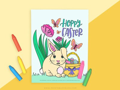 Easter Bunny Printable Coloring Page - Printable Easter Bunny Coloring Page - Printable Crush