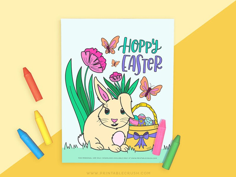 Easter Bunny Printable Coloring Page - Printable Easter Bunny Coloring Page - Printable Crush