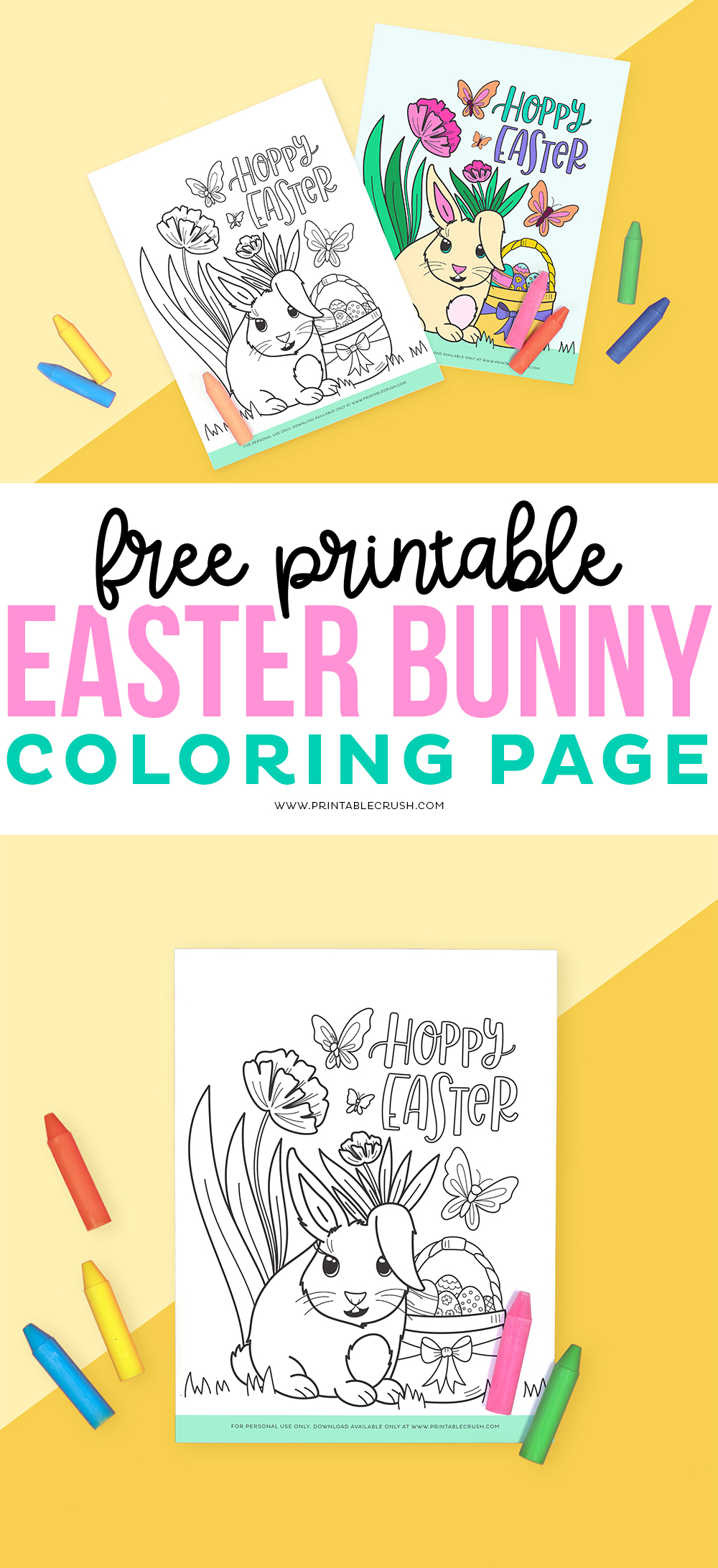 Free Printable Easter Bunny Coloring Page - Easter Coloring Page - Easter Colouring Page - Easter Bunny Colouring Page - Printable Crush