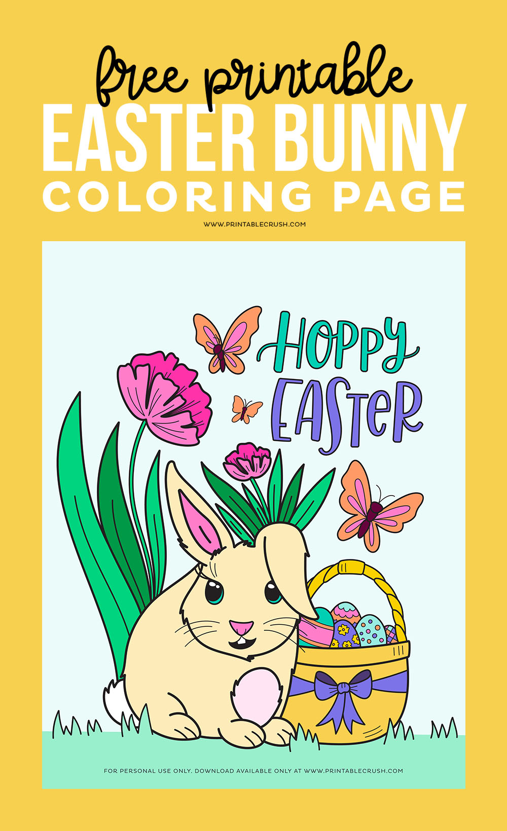 Free Printable Easter Bunny Coloring Page - Free Coloring Page for Easter - Easter Bunny Coloring - Printable Crush