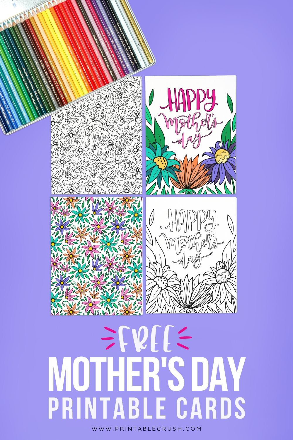 Free Mother's Day Printable Coloring Cards - Free Coloring Page for Mother's Day - Mother's Day Cards - Printable Crush via @printablecrush